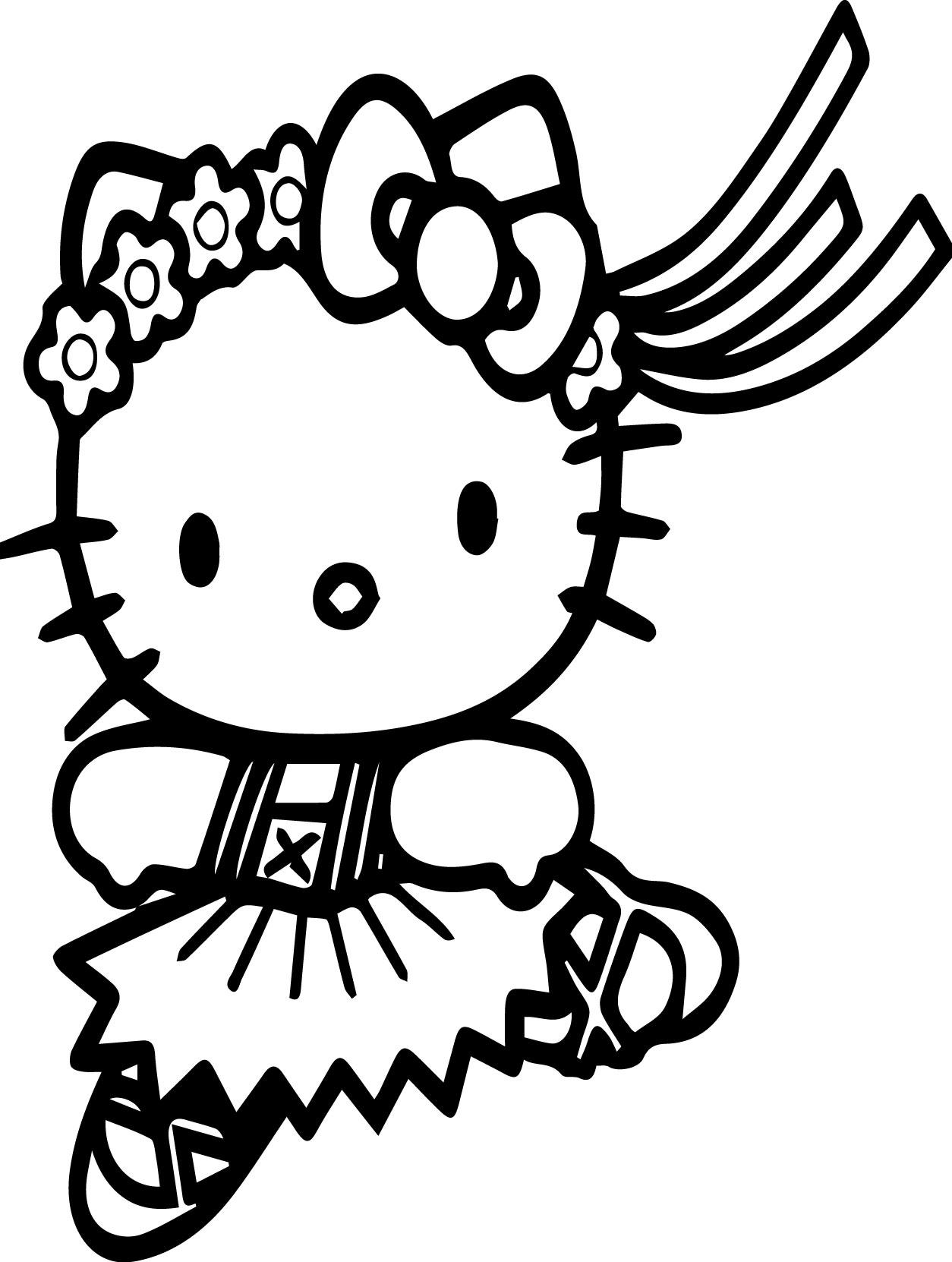 hello kitty run coloring page wecoloringpage