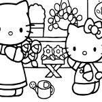 Hello Kitty With Mother Coloring Page
