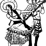 Hispanic A Woman Doing The Pasa Doble While A Man Guitar Free Picture Playing The Guitar Coloring Page