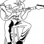 Illustration Of A Man Playing An Electric Playing The Guitar Coloring Page