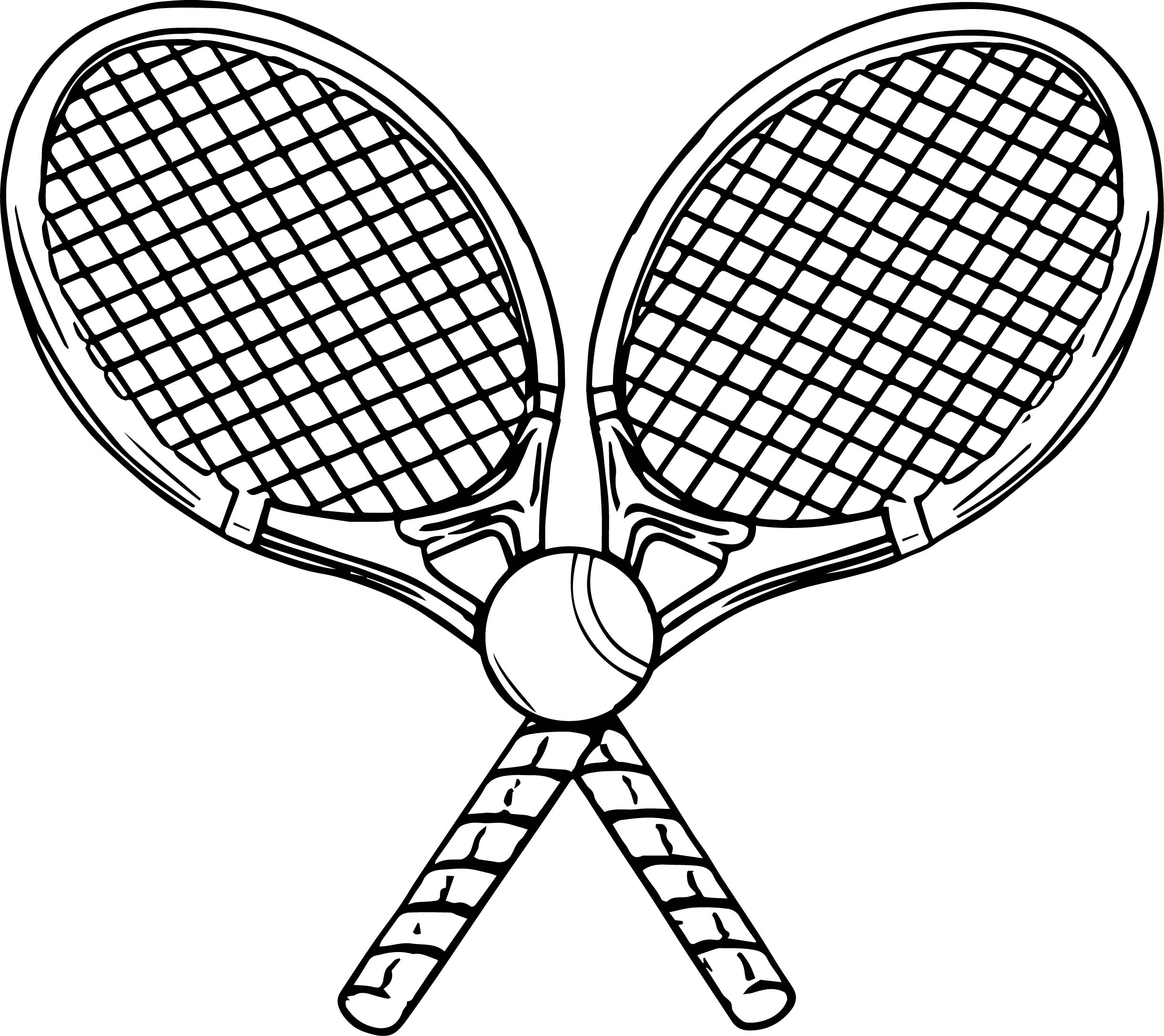 image tennis racquet and ball coloring page wecoloringpage