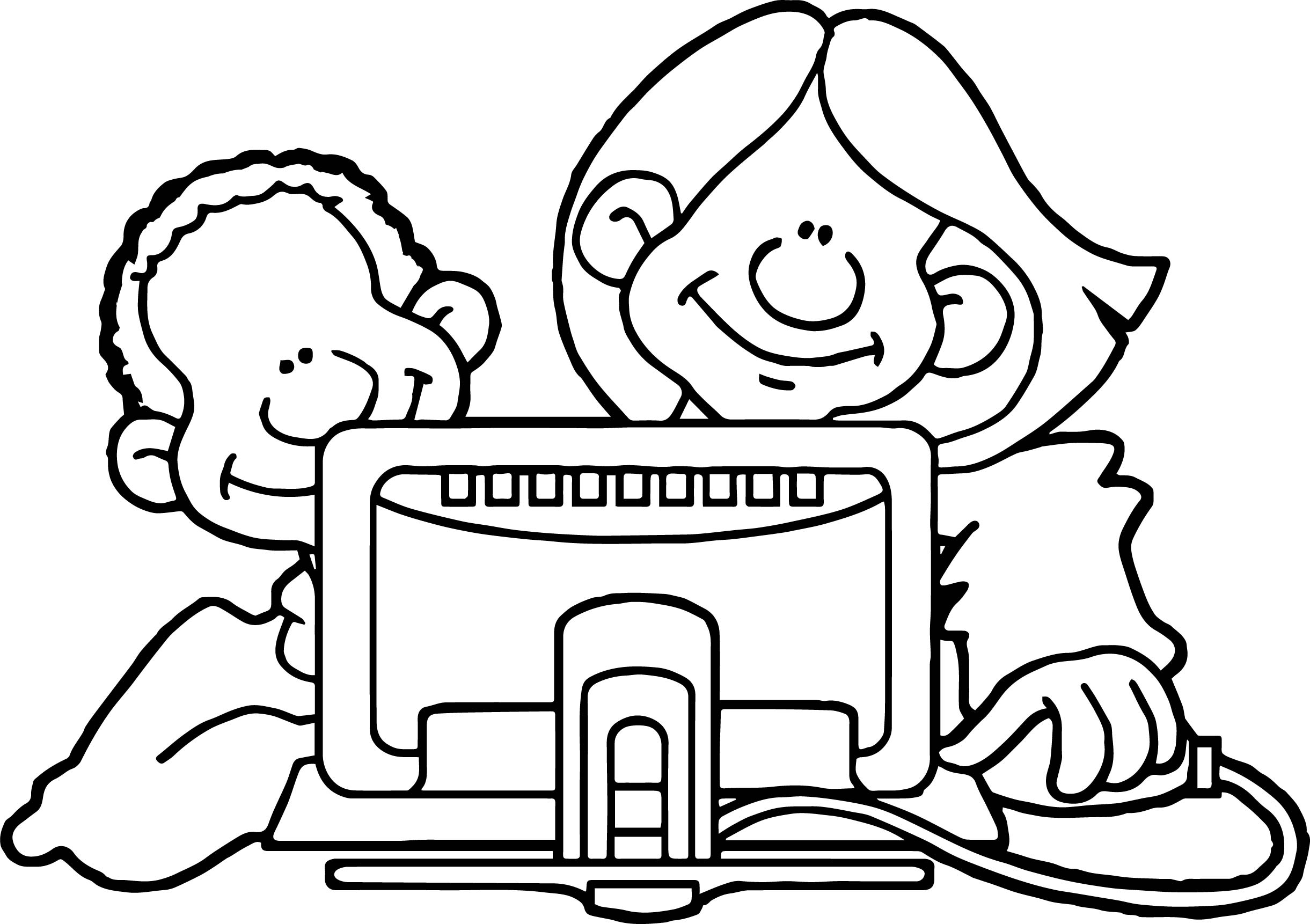 Internet Back Playing Computer Games Coloring Page