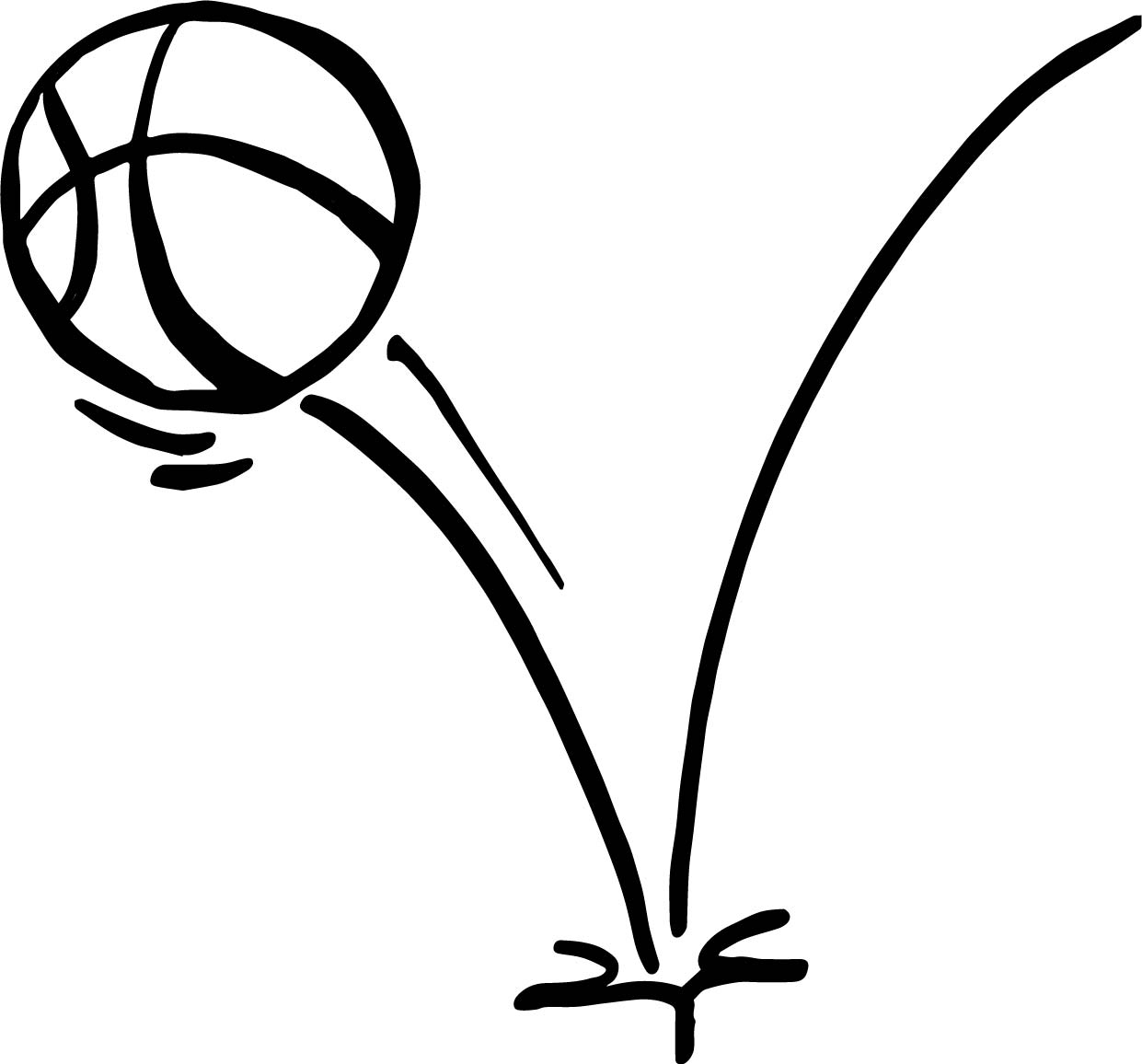 Jump Ball Playing Basketball Coloring Page