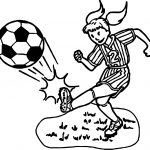 Kid Girl Playing Soccer Playing Football Coloring Page