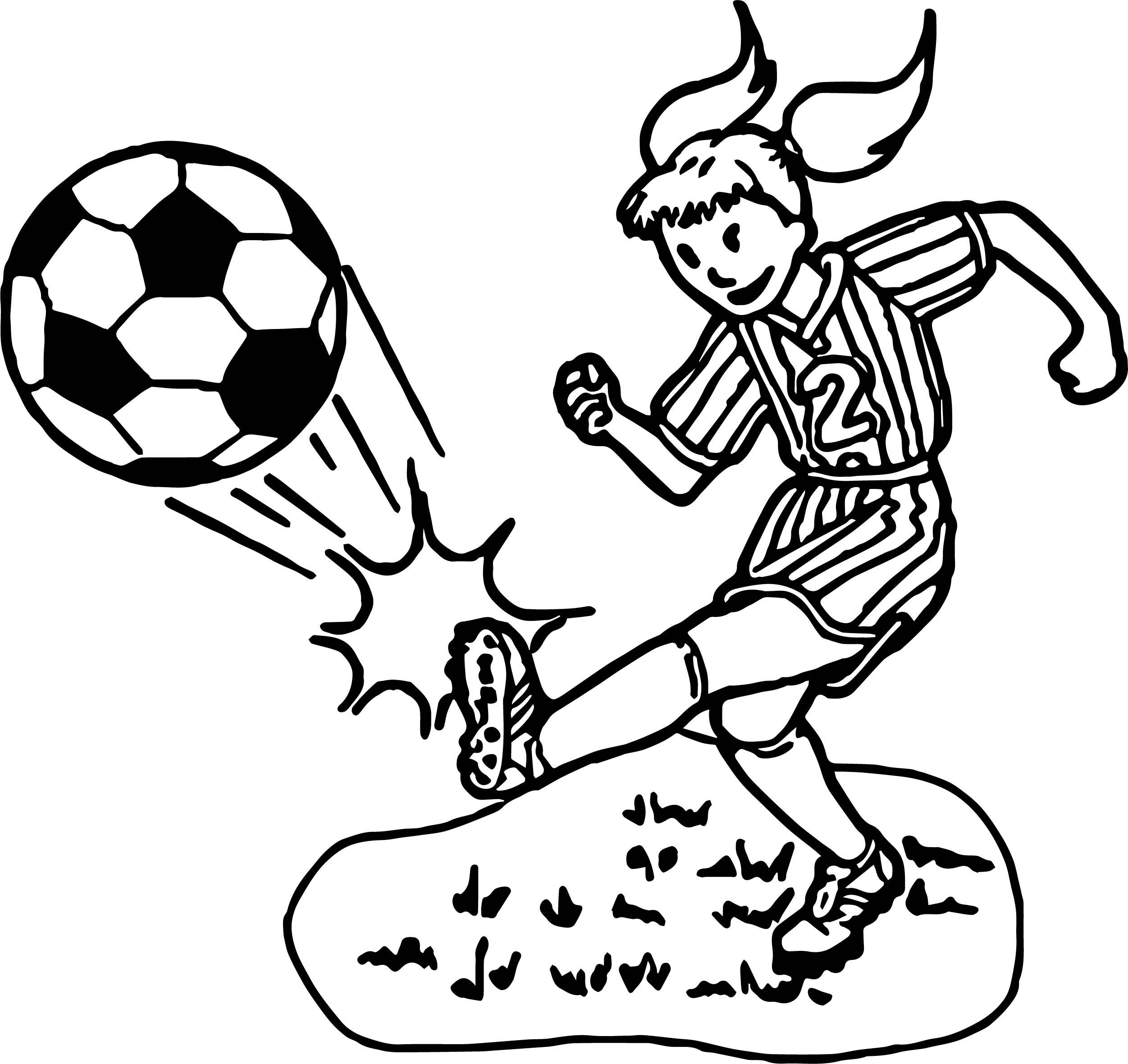 kid girl playing soccer playing football coloring page - Girl Soccer Player Coloring Pages