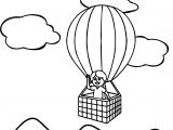 Kid In Air Balloon Coloring Page
