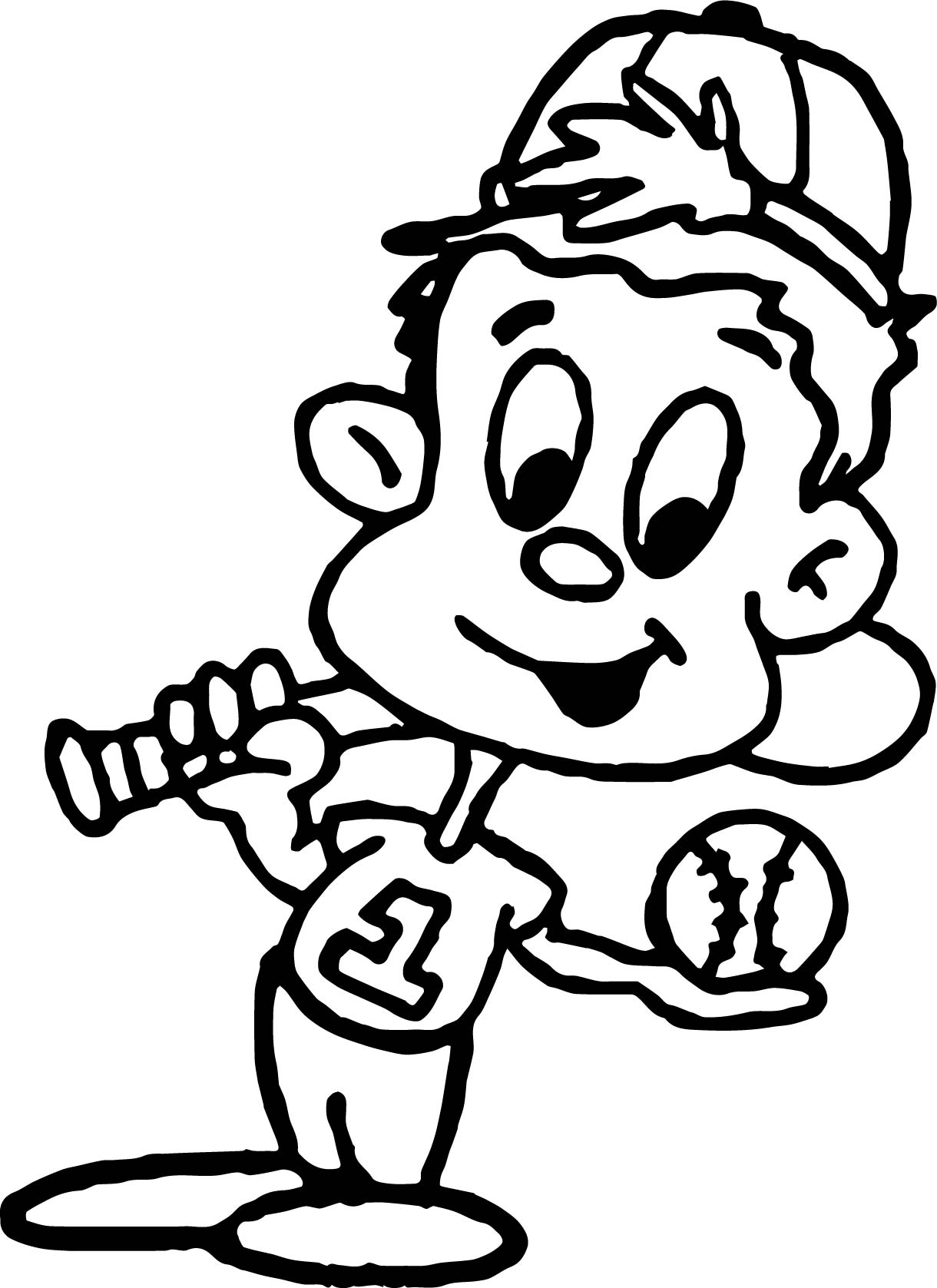 Kid Ready To Play Coloring Page