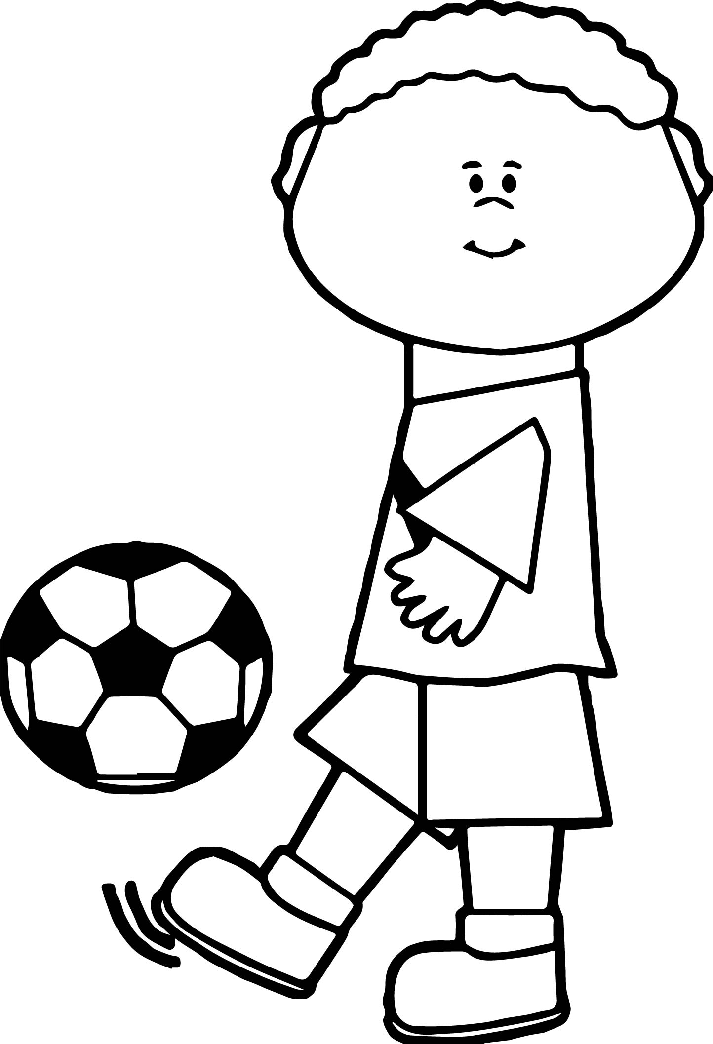 Kids Kick Soccer Ball Playing Football Coloring Page Wecoloringpage