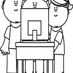 Kids Playing Computer Games Coloring Page