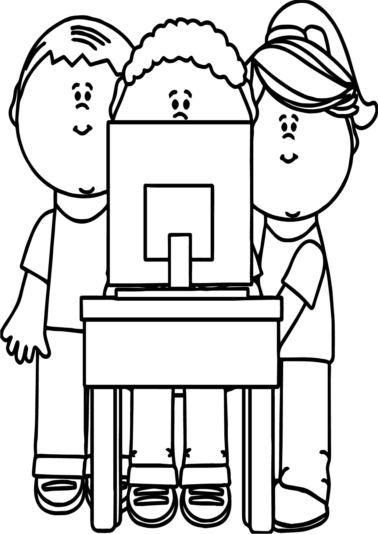Kids Playing Computer Games Coloring Page | Wecoloringpage.com