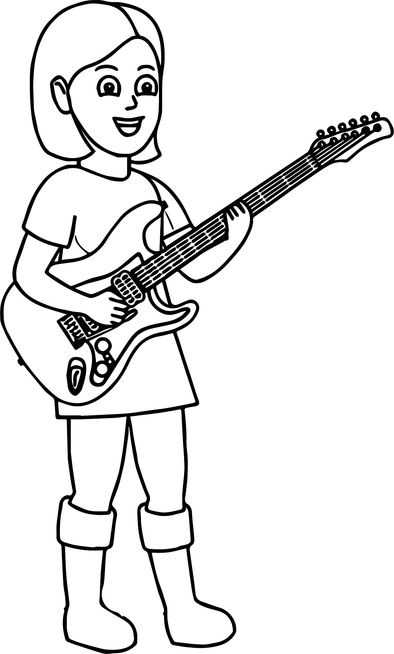 kids playing music playing the guitar coloring page