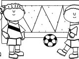 Kids Playing Soccer Football Coloring Page