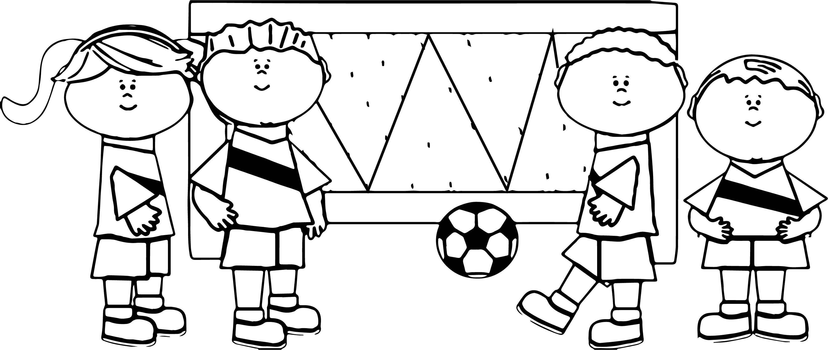 kids playing soccer football coloring page wecoloringpage