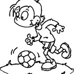 Kind Children Playing Soocer Playing Football Coloring Page