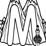 Learn Letter M for Mountain in Sesame Street Coloring Page