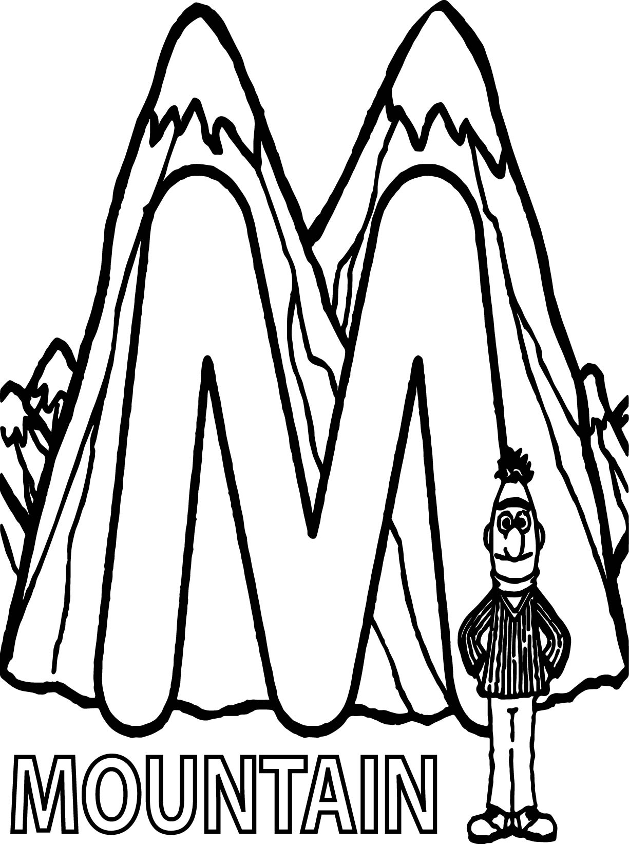 Learn Letter M For Mountain In Sesame Street Coloring Page ...