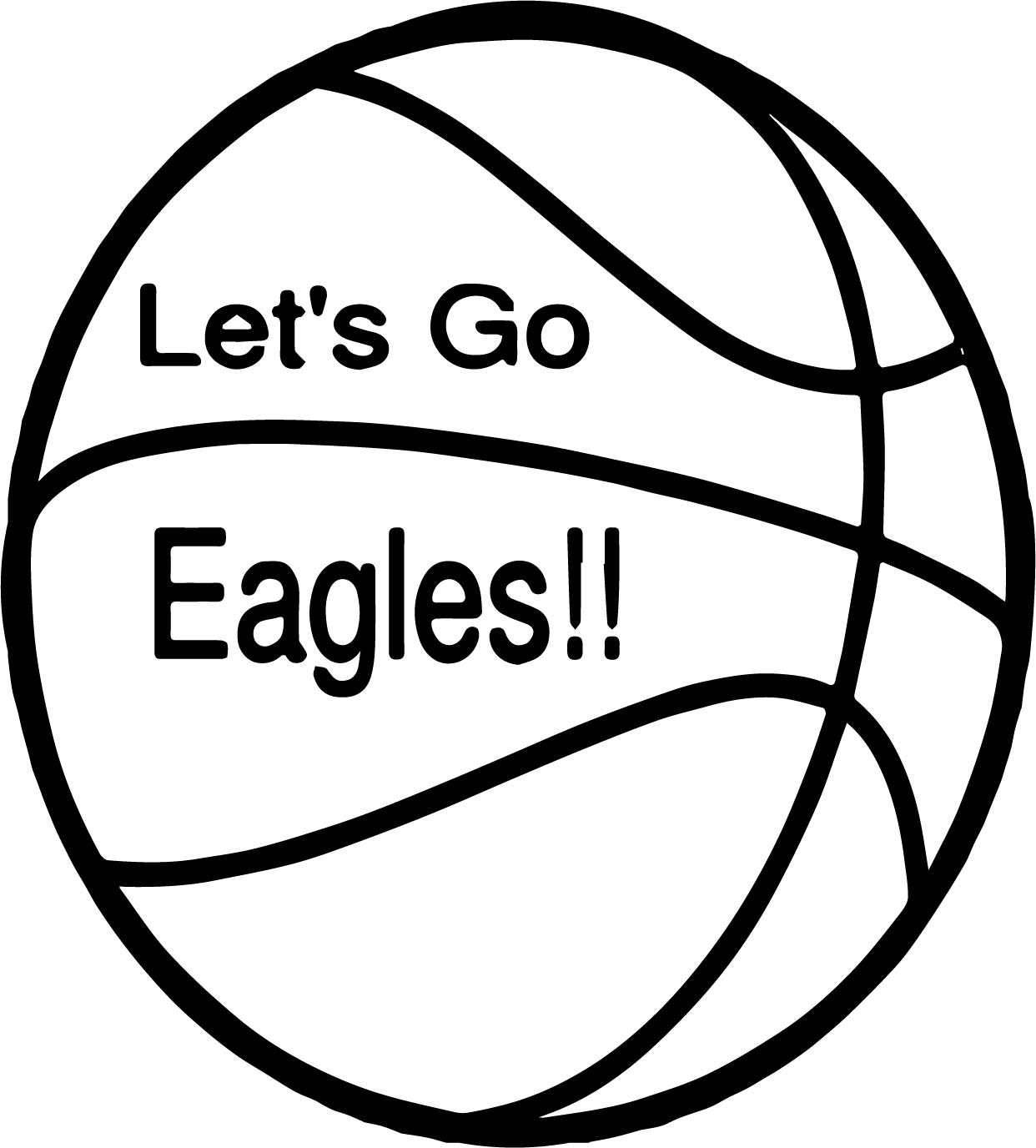 Lets Go Eagle Ball Playing Basketball Coloring Page