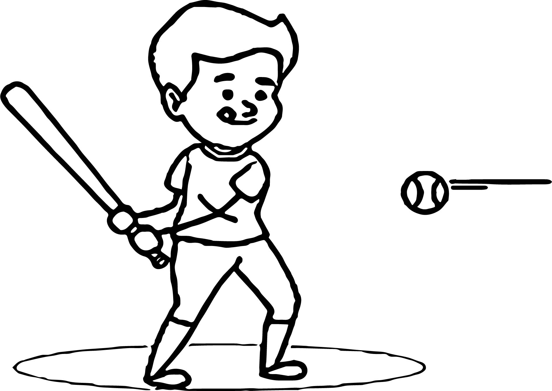 Little League Player Hitting Baseball Coloring Page