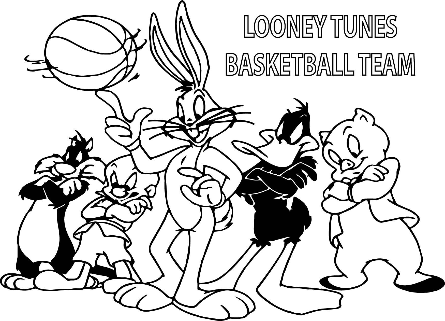 looney tunes basketball coloring pages - photo#8