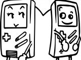 Love Couple Tetris Playing Computer Games Coloring Page