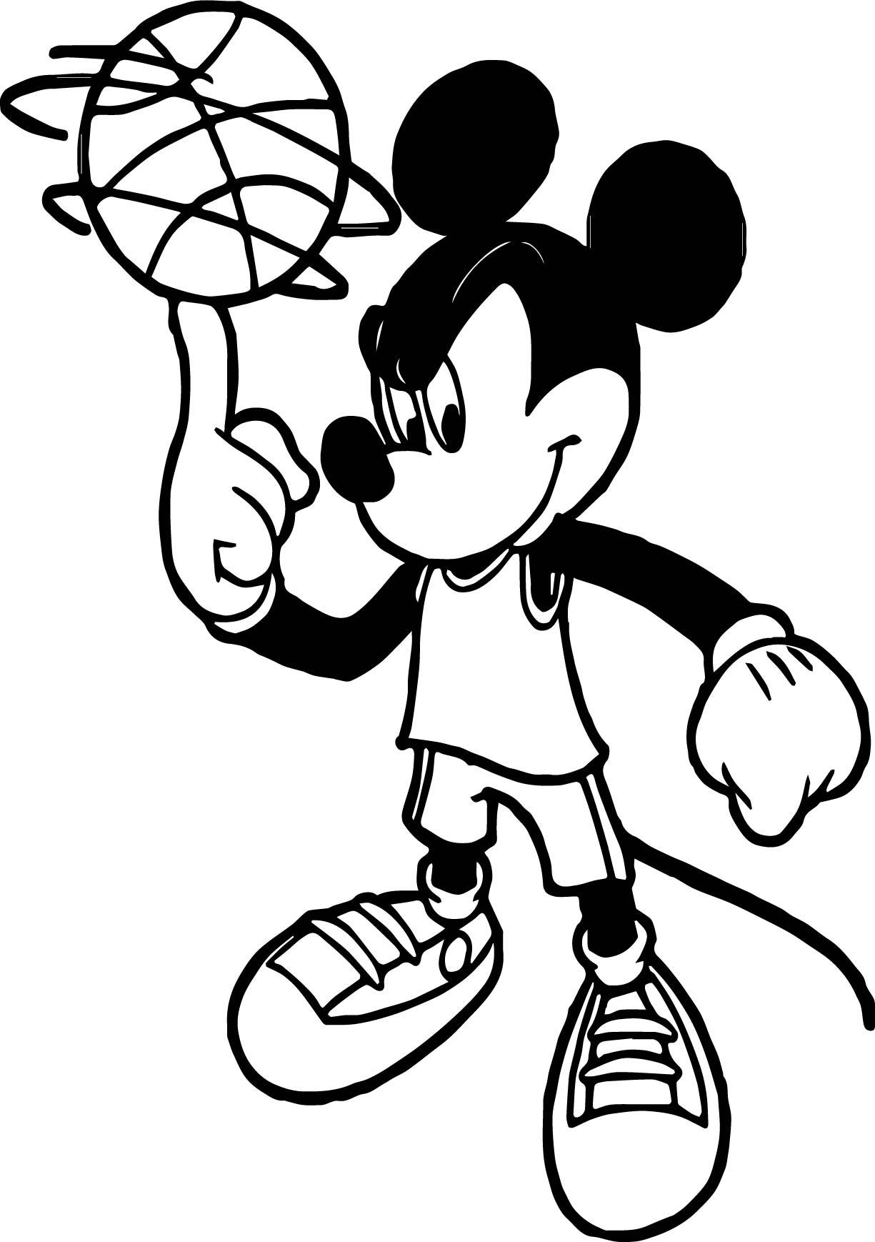 Mickey Playing Basketball Flip Ball Coloring Page