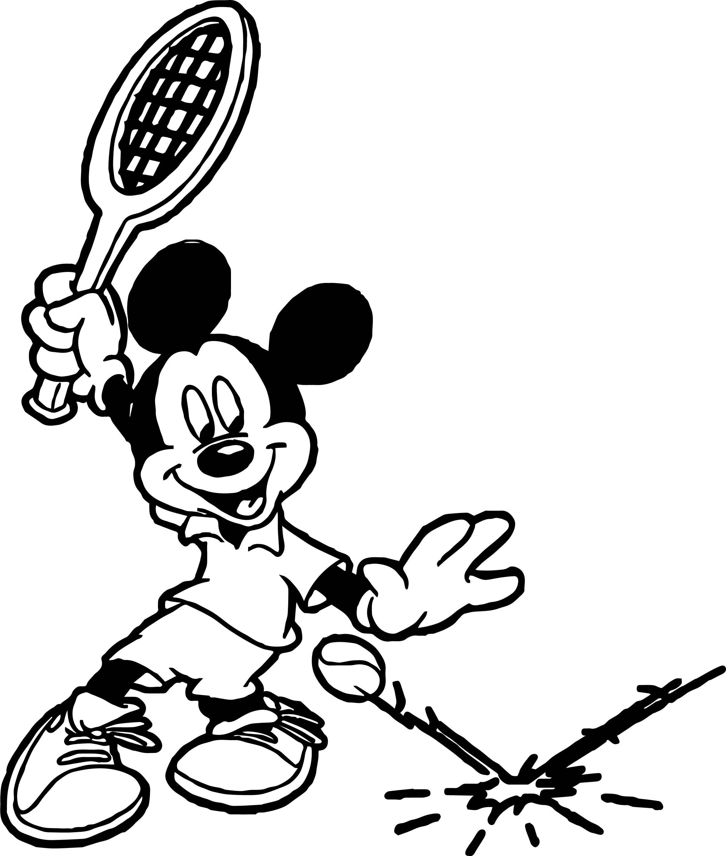 mickey tennis splash tennis ball coloring page