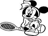 Minnie Kid Playing Tennis Coloring Page