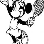Minnie Playing Tennis Coloring Page