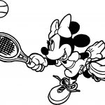 Minnie Tennis Catch Ball Coloring Page