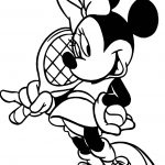 Minnie Tennis Pose Coloring Page