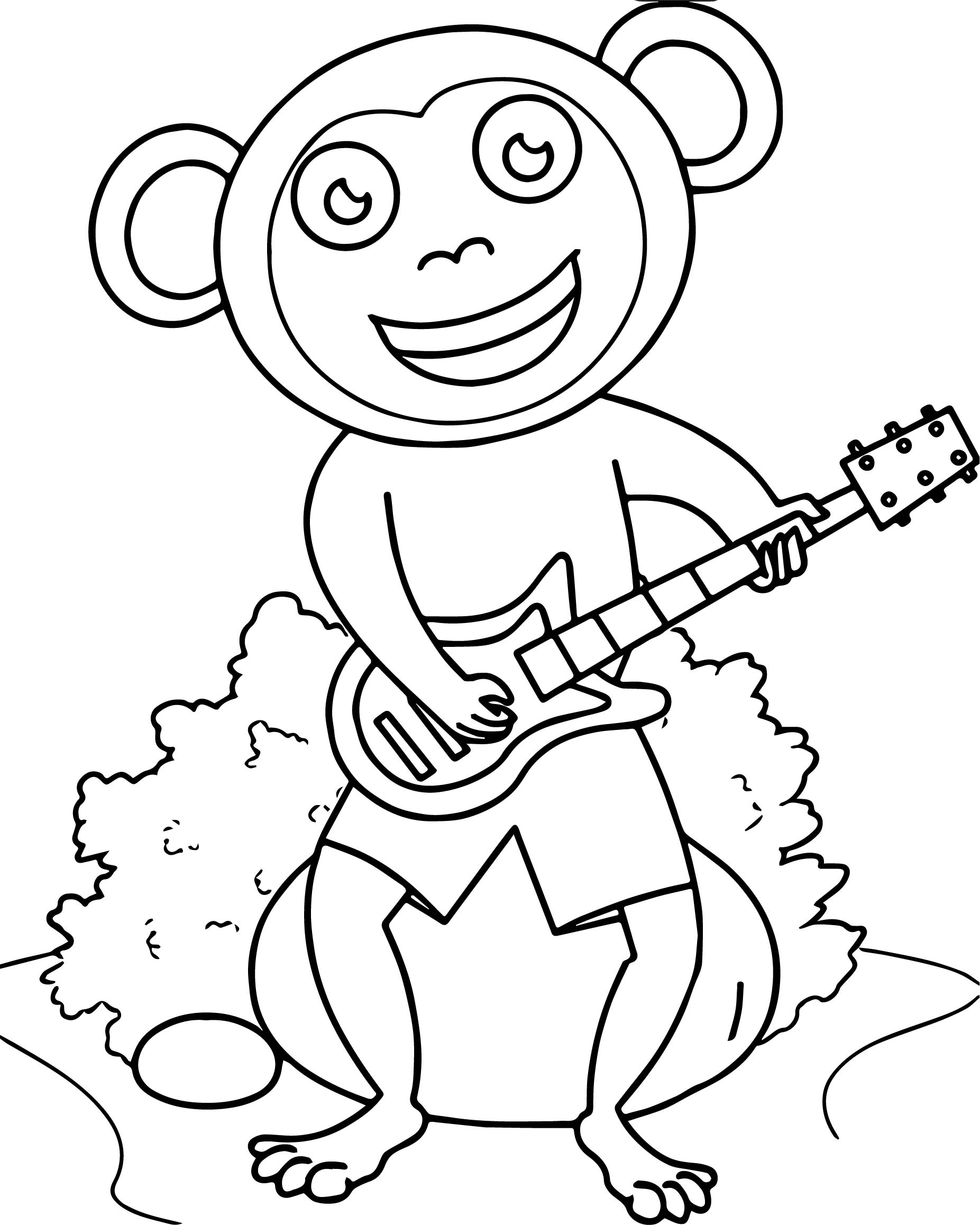 Monkey Sitting On Rock Playing Guitar Coloring Page
