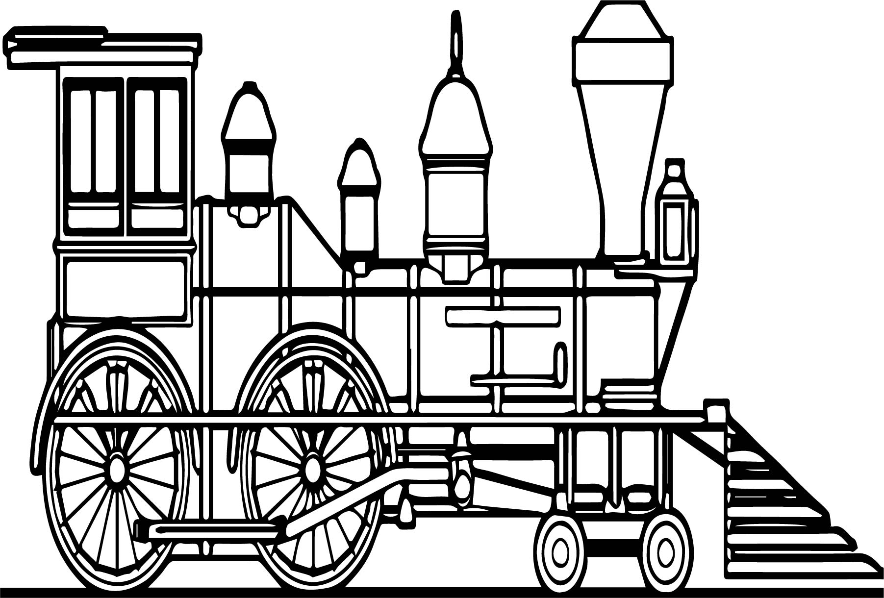Steam engine train black and white imageresizertool com for Coloring page of a train
