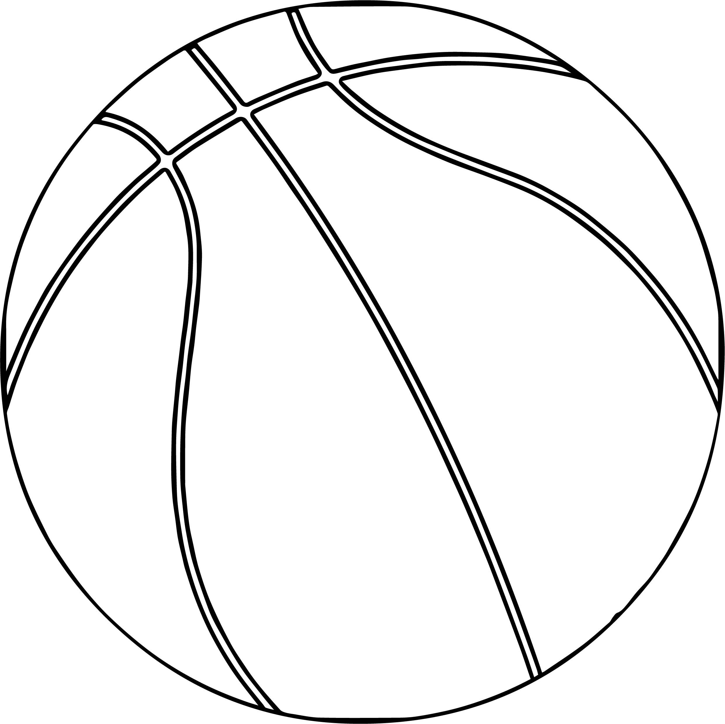 One Basketball Ball Playing Basketball Coloring Page