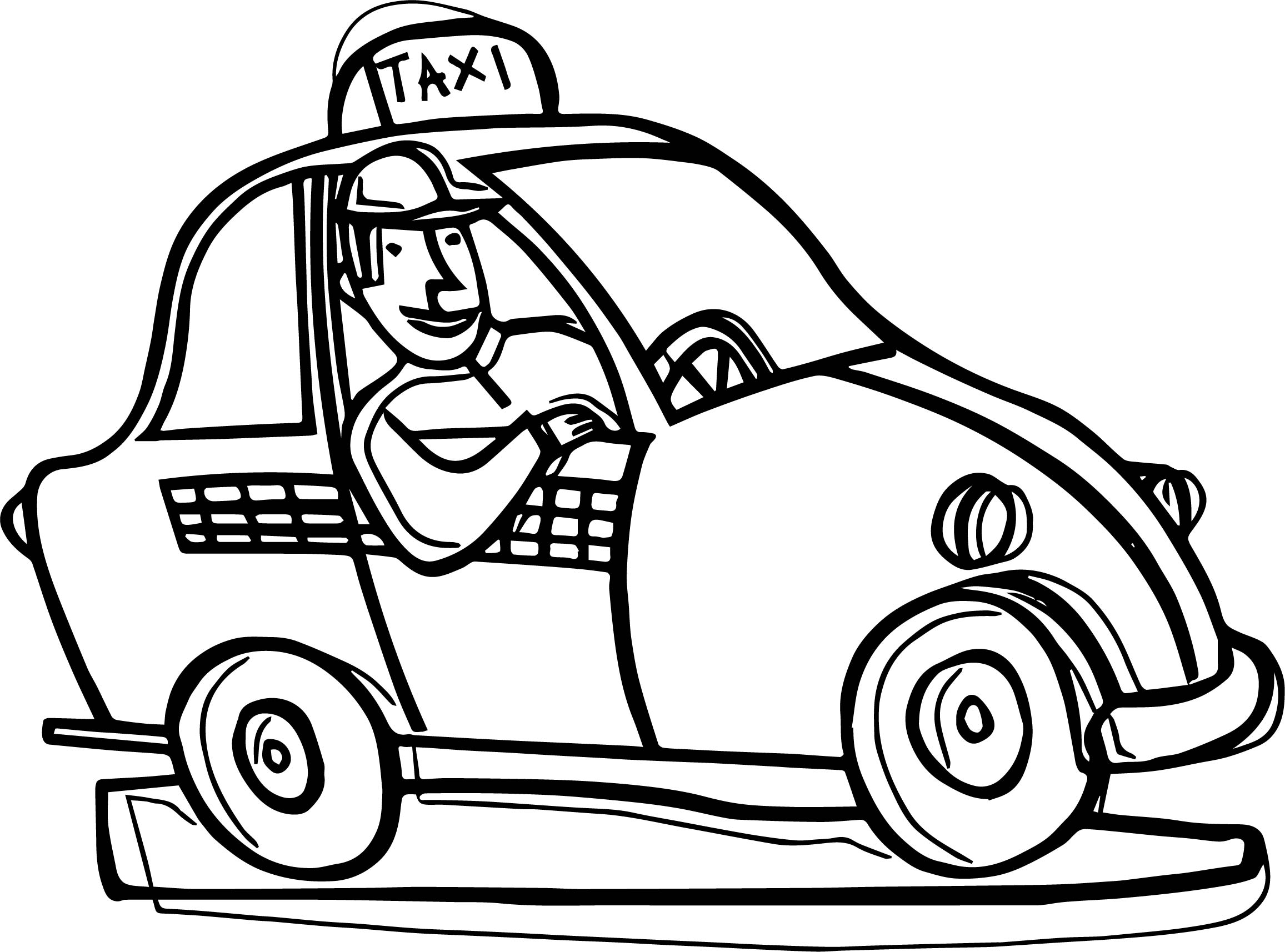 One Taxi Driver Car Coloring Page