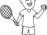 Oy Holding A Tennis Racquet And Tennis Ball Ready To Play Coloring Page
