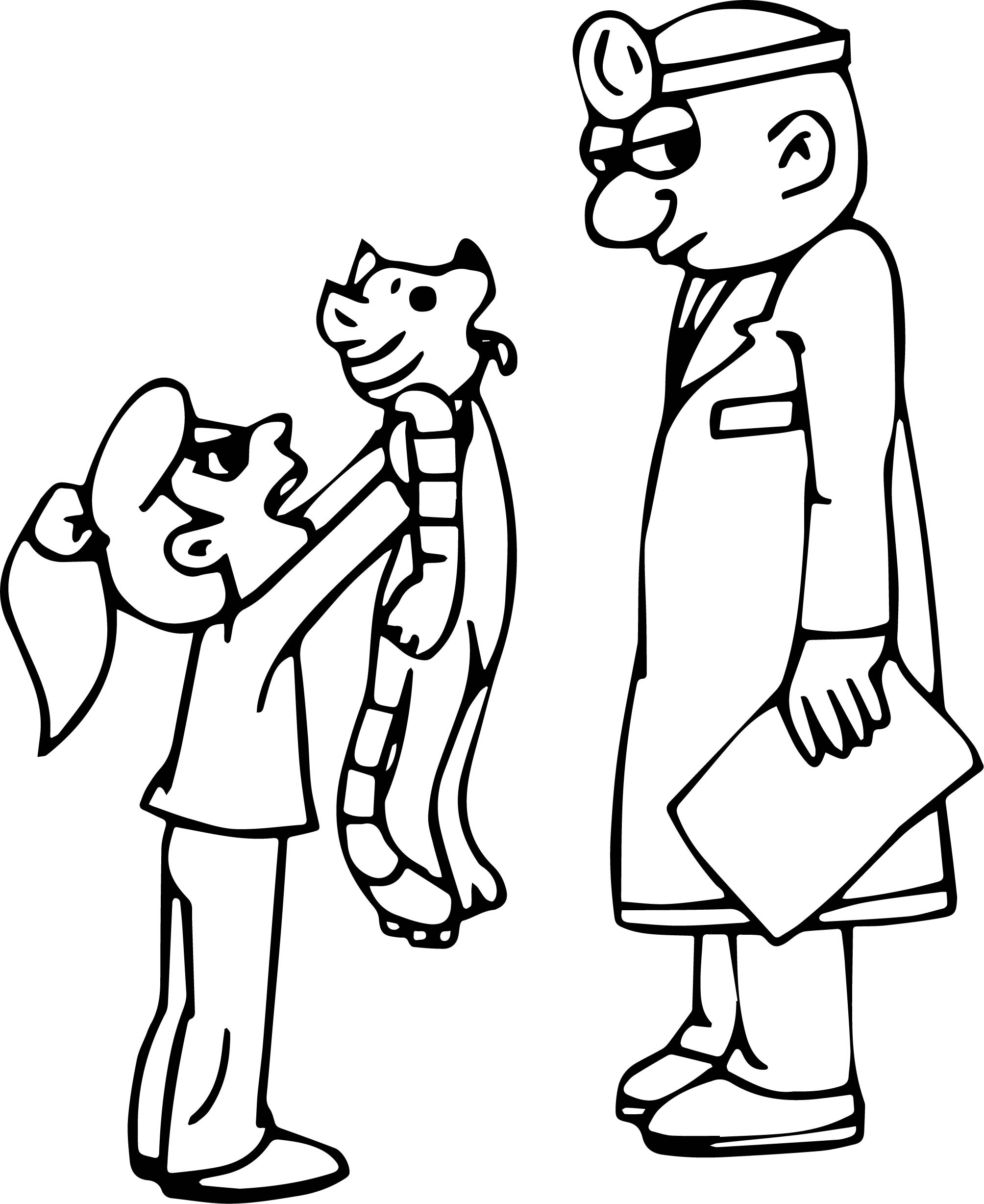 Pediatrician Veterinarian Kid Girl And Cat Coloring Page