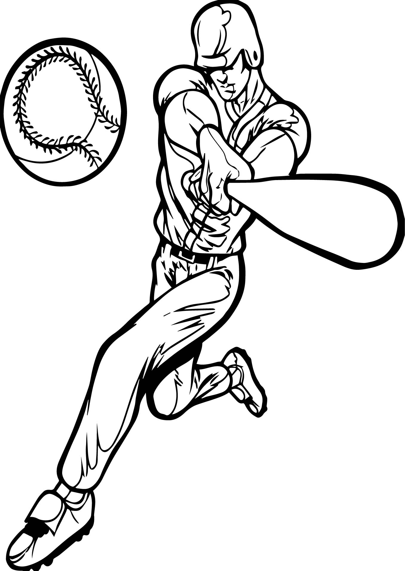 Perfect Playing Baseball Man Coloring Page