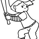 Playing Baseball Child Kid Free Printable Coloring Page