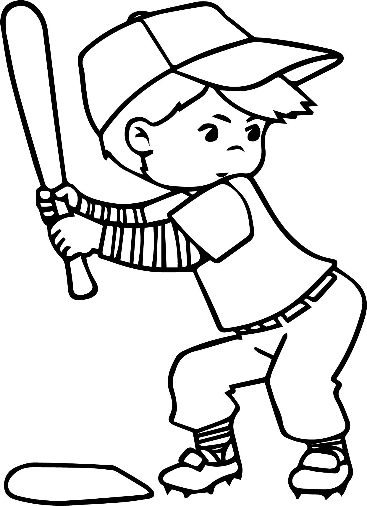 playing baseball child kid free printable coloring page