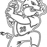 Playing Baseball Logo Outline Pig Coloring Page