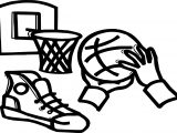 Playing Basketball Basket Hand Ball Coloring Page