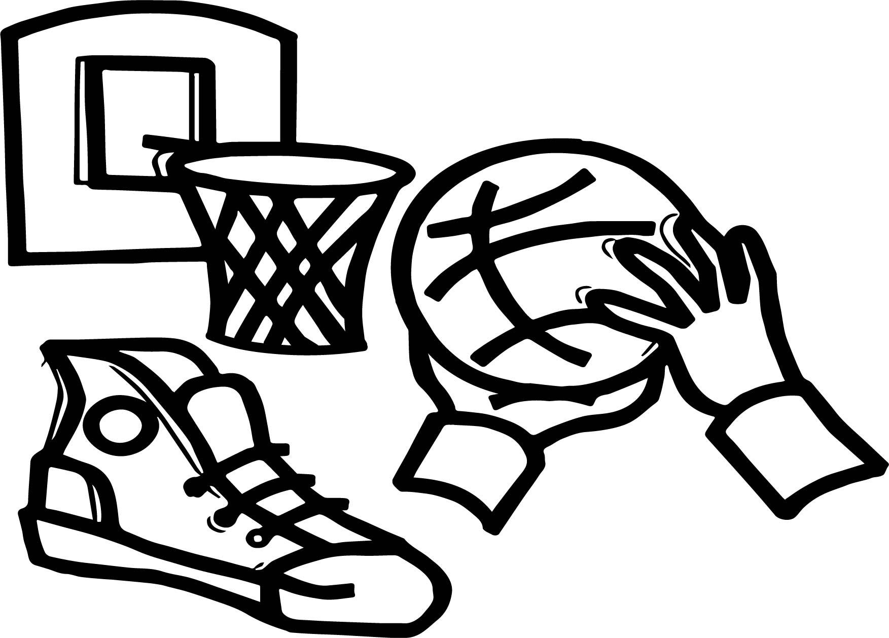 Playing Basketball Basket Hand Ball Coloring Page