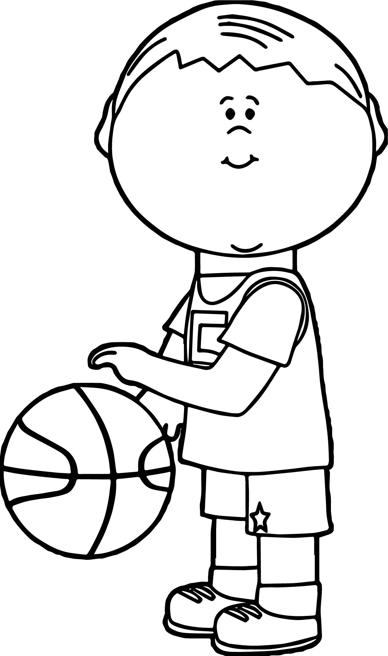 Playing Basketball Kid Coloring Page