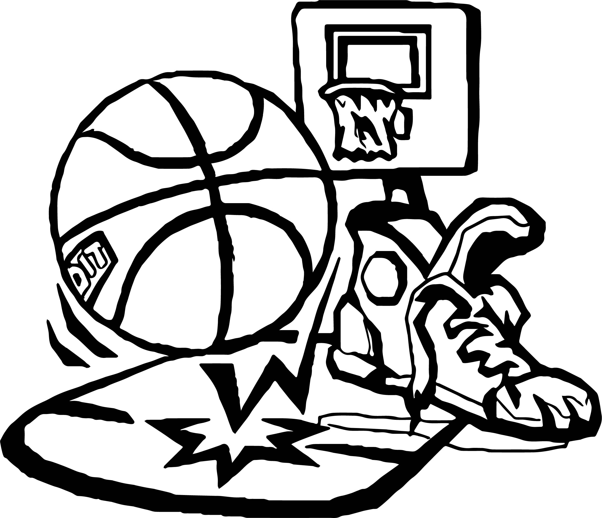 Playing Basketball Set Coloring Page