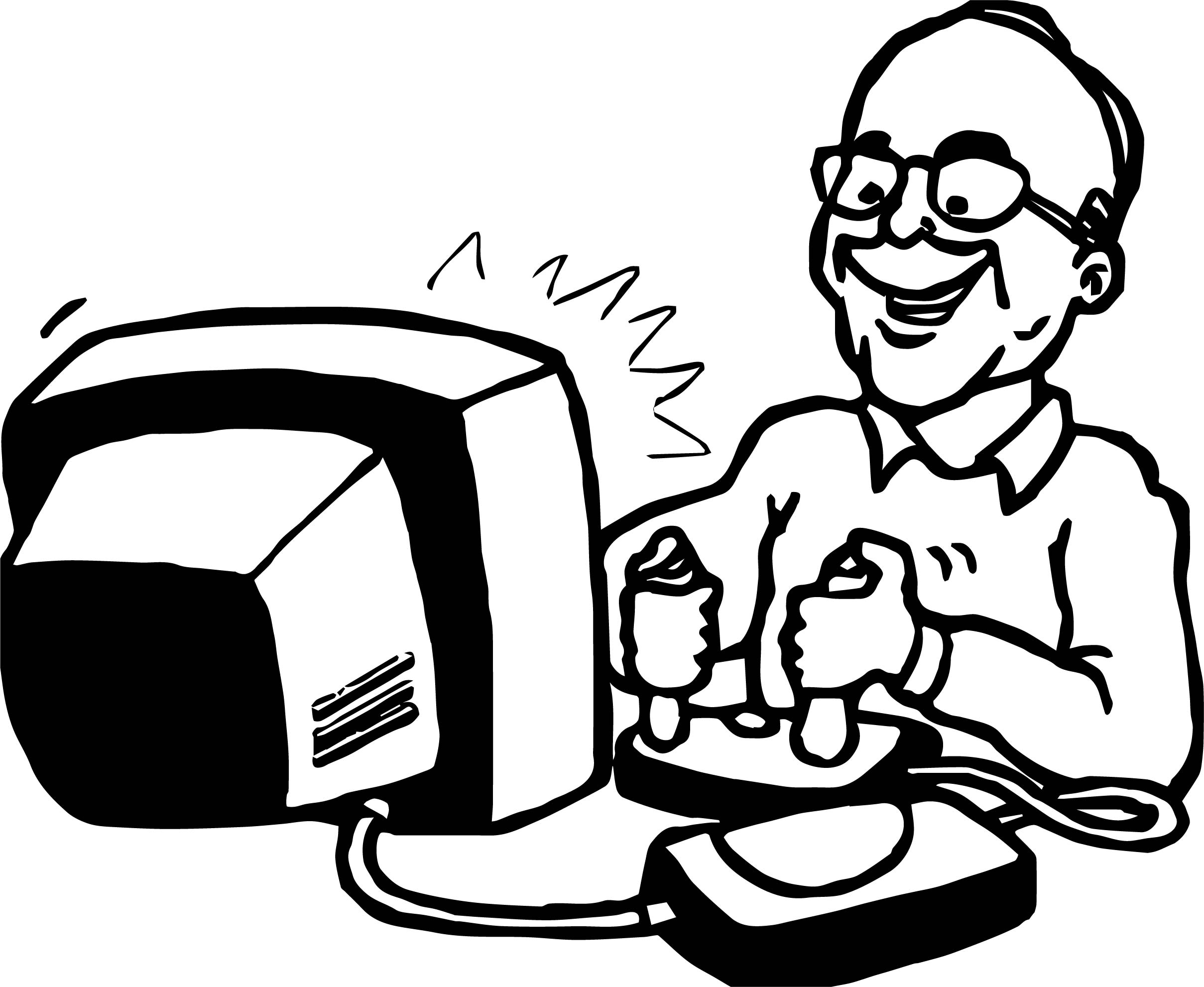 Playing Computer Games Adult Coloring Page