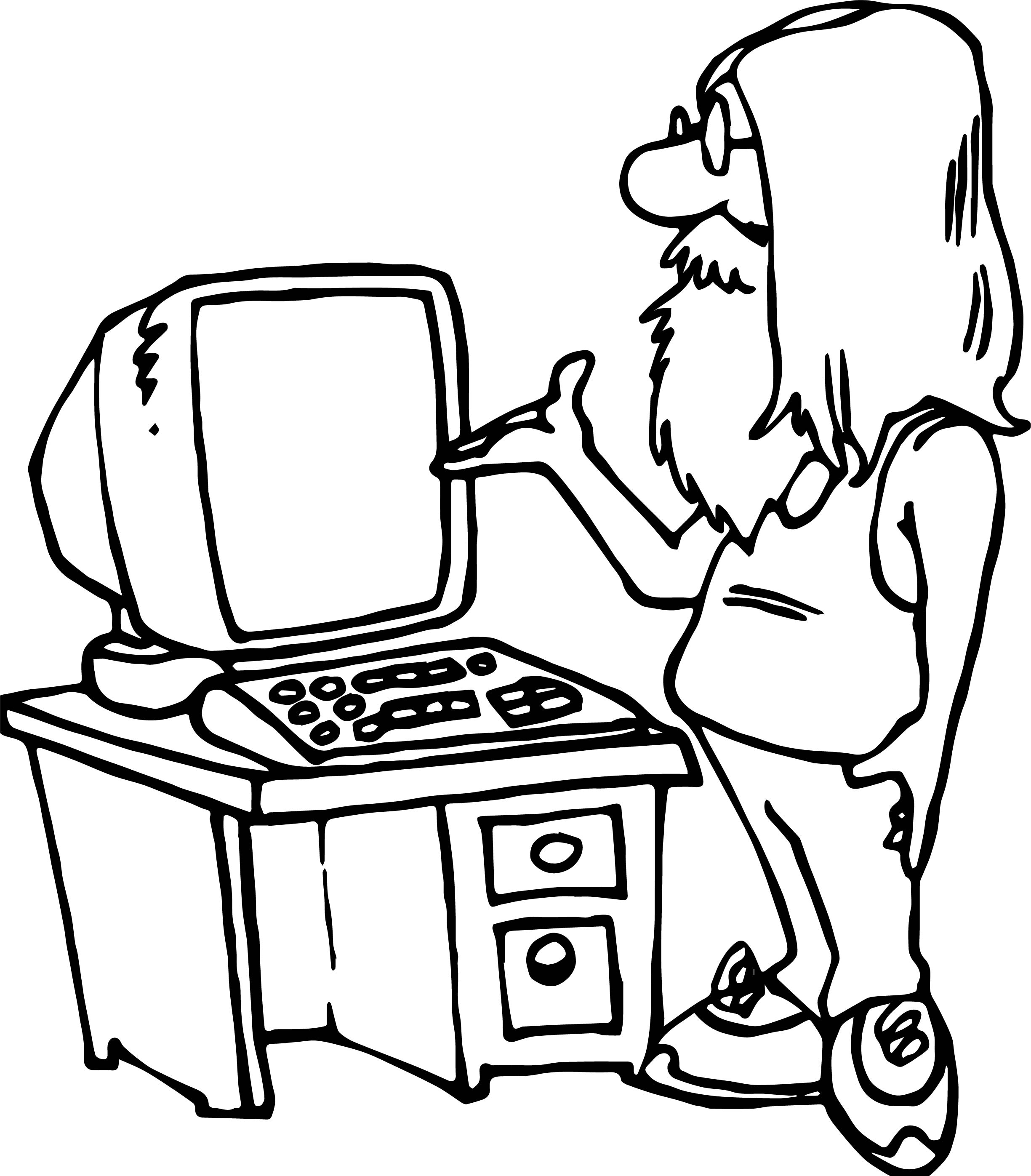 Playing Computer Games Man Coloring Page