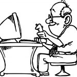 Playing Computer Games Old Man Coloring Page