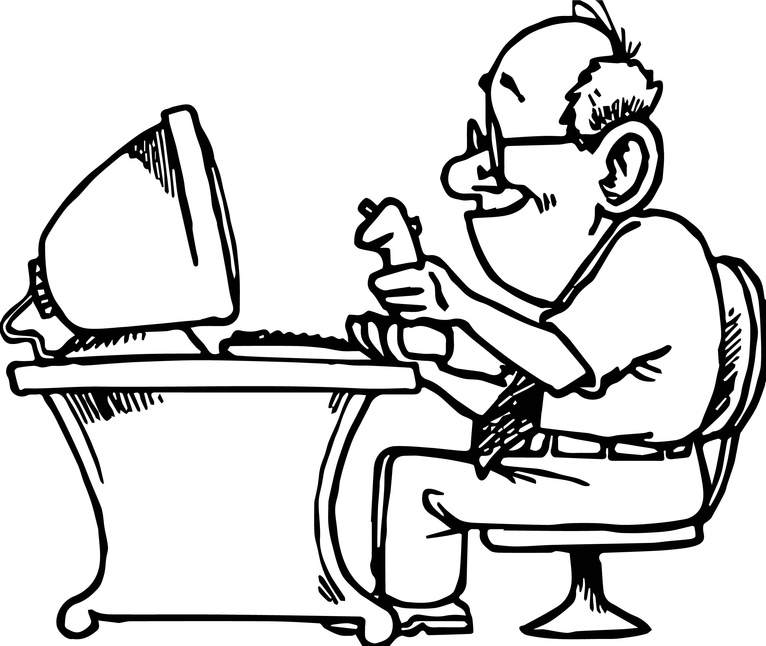 playing computer games old man coloring page wecoloringpage