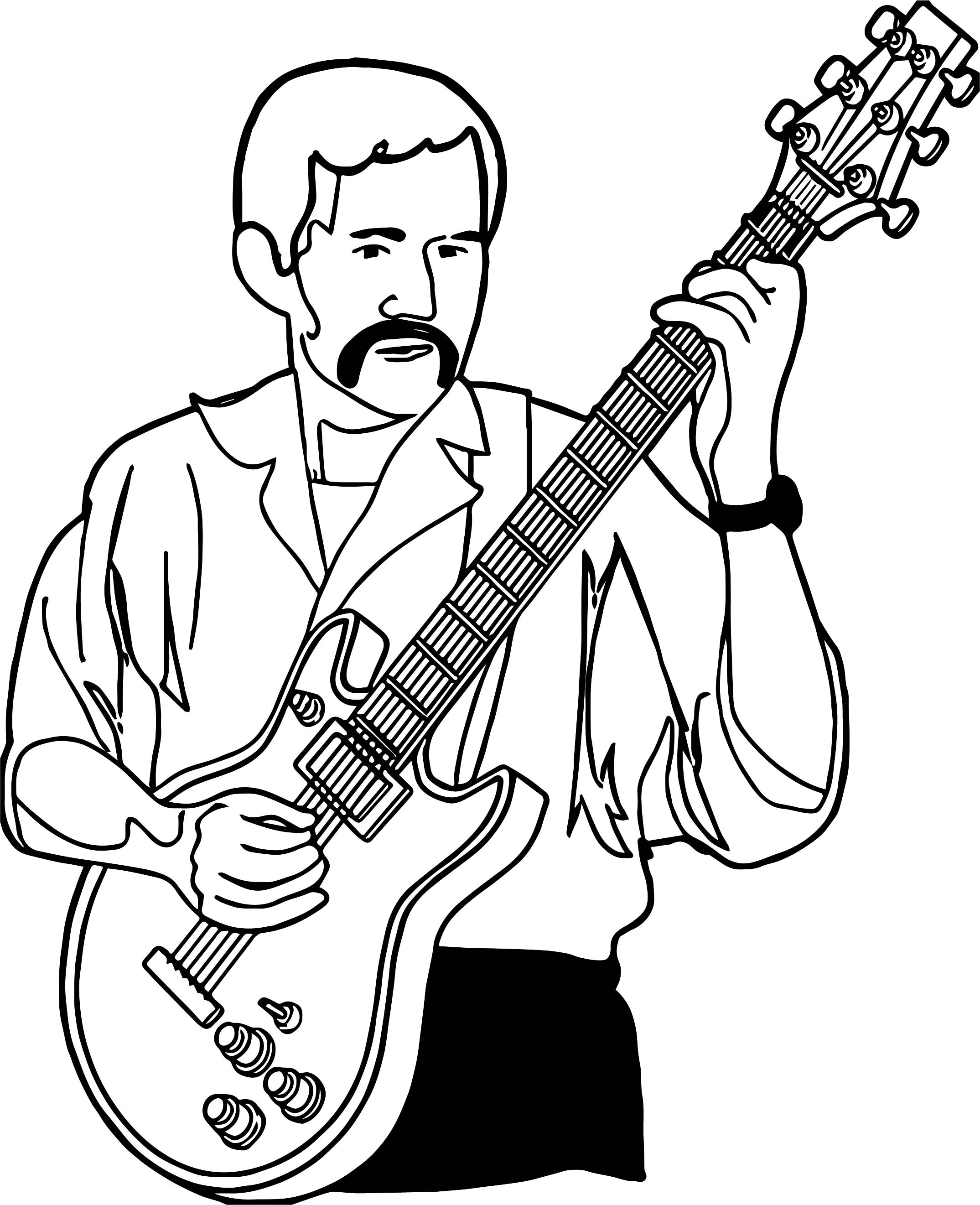 Playing Guitar Guitarist Playing The Guitar Coloring Page