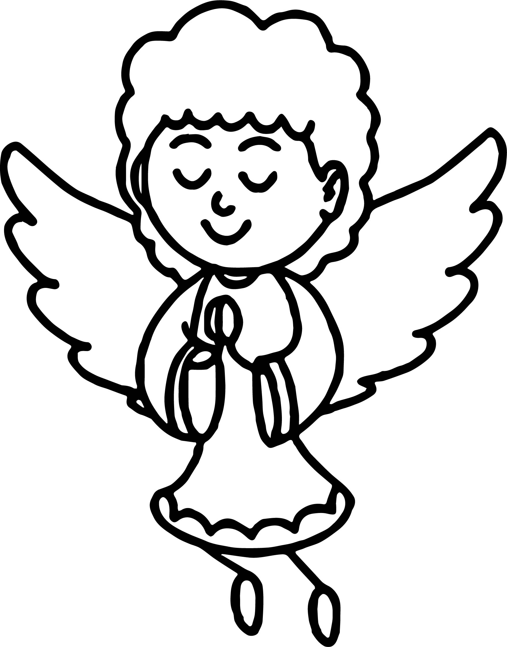 Praying Angel In Dress Coloring Page